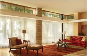 vertical blinds, mid century living room