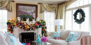 drapes and curtains in holiday decor