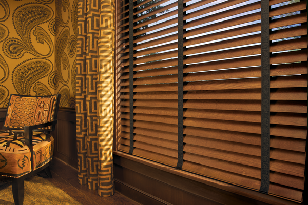 tapes on wooden window blinds